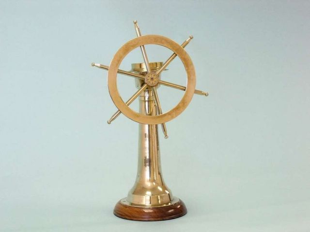 Solid Brass Ship Wheel Compass 18