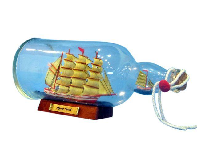 Red Flying Cloud Model Ship in a Glass Bottle 11