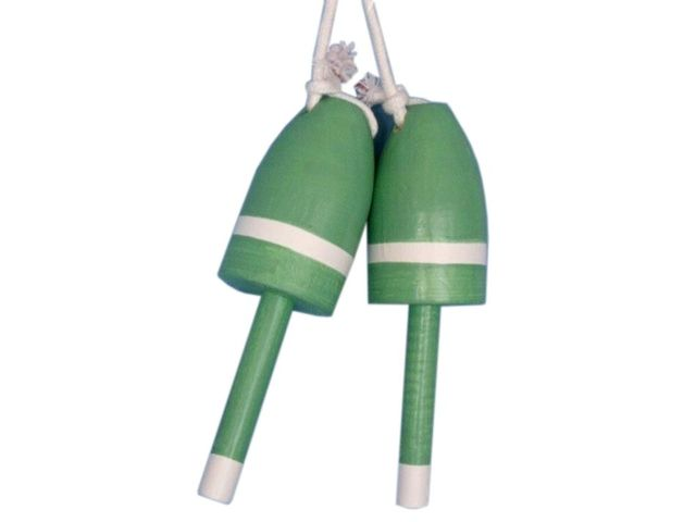 Set of 2 - Wooden Light Green Decorative Maine Lobster Trap Buoy 7