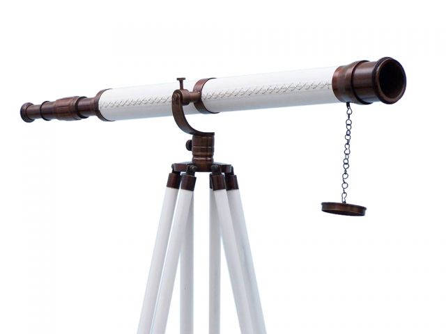Buy floor standing bronzed with white leather galileo telescope 65 inch