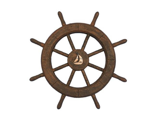 Flying Dutchman Ghost Pirate Decorative Ship Wheel With Sailboat 18