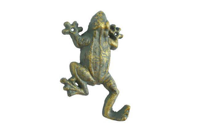 Antique Seaworn Bronze Cast Iron Frog Hook 6