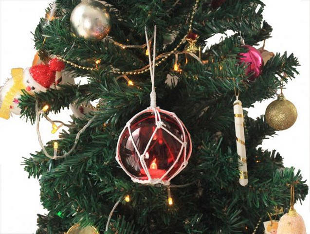 led lighted red japanese glass ball fishing float with white netting christmas tree ornament 4 - Japanese Christmas Decorations