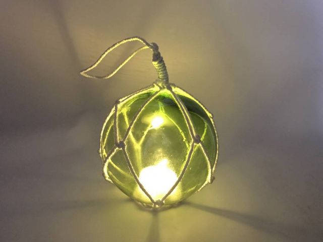 LED Lighted Green Japanese Glass Ball Fishing Float with White Netting Decoration 4