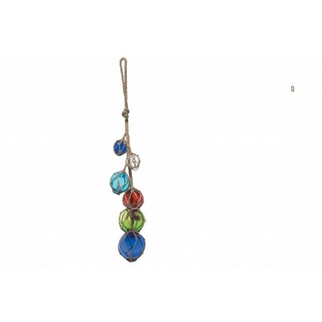 Dark Blue - Clear - Light Blue- Red - Green Glass And Rope Float 27