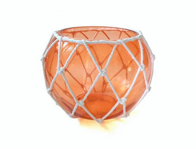 Orange Japanese Glass Fishing Float Bowl with Decorative White Fish Netting 8