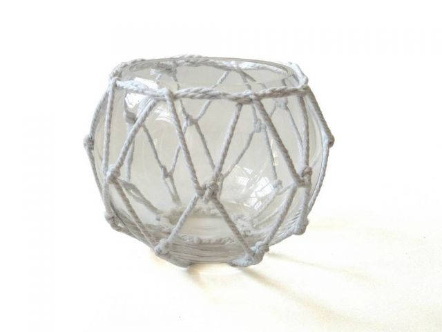 Clear Japanese Glass Fishing Float Bowl with Decorative White Fish Netting 6