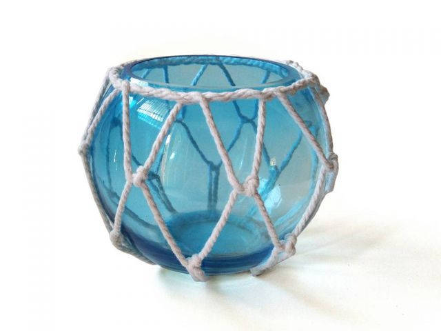 Light Blue Japanese Glass Fishing Float Bowl with Decorative White Fish Netting 6