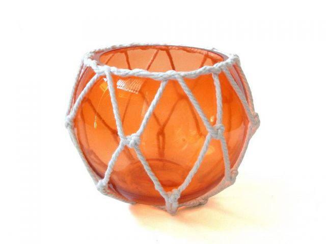 Orange Japanese Glass Fishing Float Bowl with Decorative White Fish Netting 6