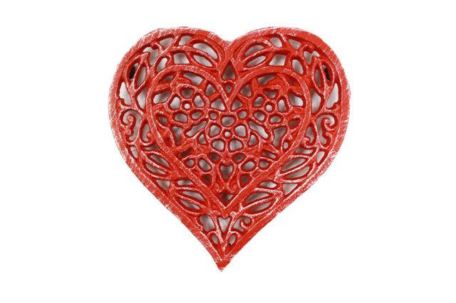 Rustic Red Cast Iron Heart Shaped Trivet 7