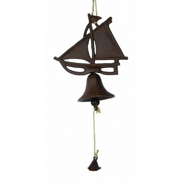 Rustic Cast Iron Hanging Sailboat Bell 8