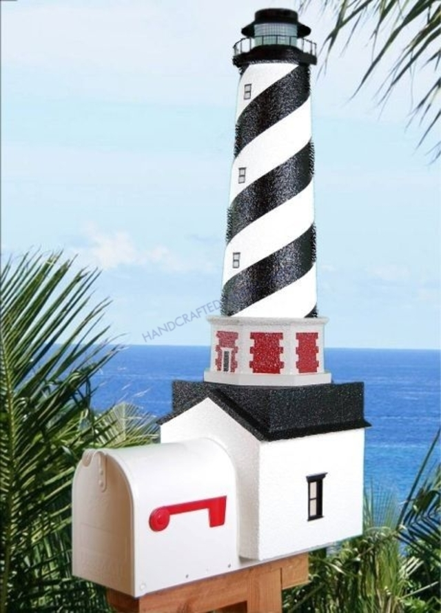 Cape Hatteras Solar Powered Stucco Lighthouse Mailbox 36