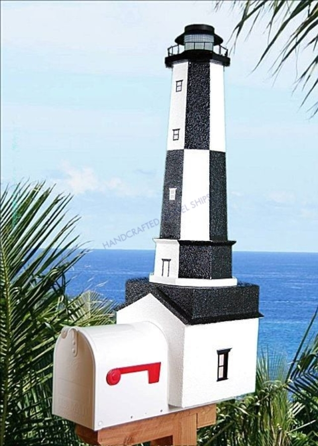 Cape Henry Solar Powered Stucco Lighthouse Mailbox 36