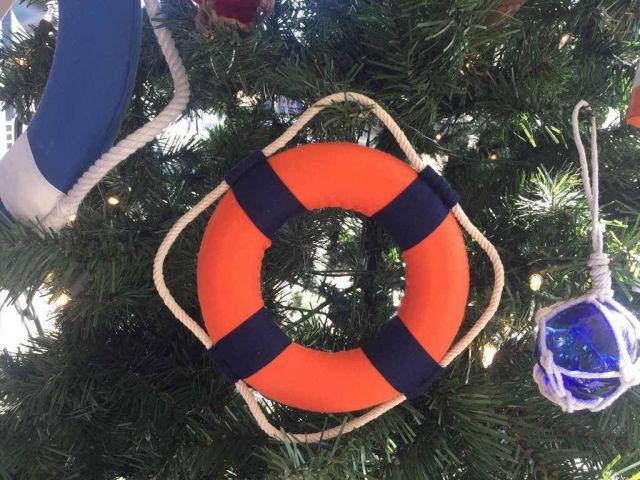 Vibrant Orange Decorative Lifering With Blue Bands Christmas Ornament 6