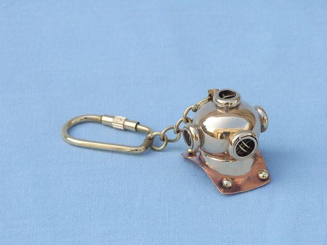 Solid Brass-Copper Diving Helmet Key Chain 5