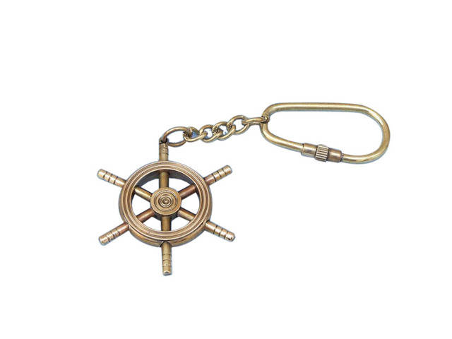 Solid Brass-Copper Ship Wheel Key Chain 5