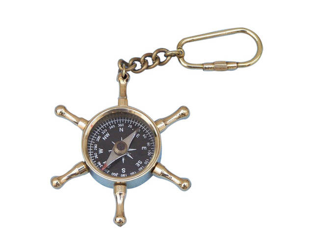 Solid Brass Shipandapos;s Wheel Compass Key Chain