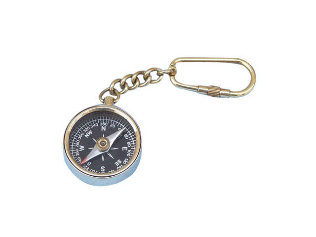 Solid Brass Compass Key Chain 5
