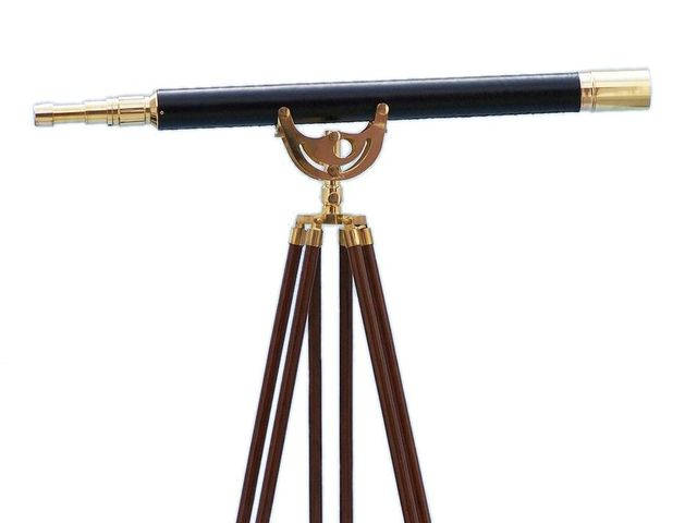 Floor Standing Brass-Leather Anchormaster Telescope 65