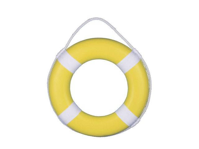 Yellow Painted Decorative Lifering with White Bands 15