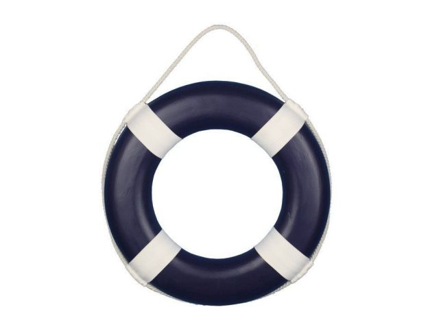 Dark Blue Painted Decorative Lifering with White Bands 15