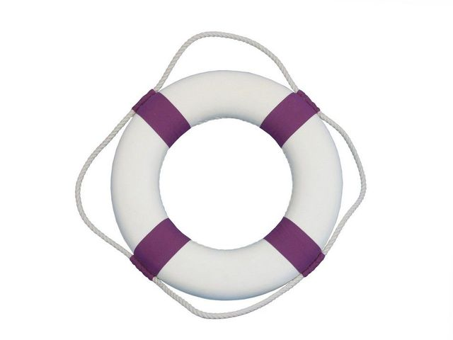 Classic White Decorative Lifering with Purple Bands 15