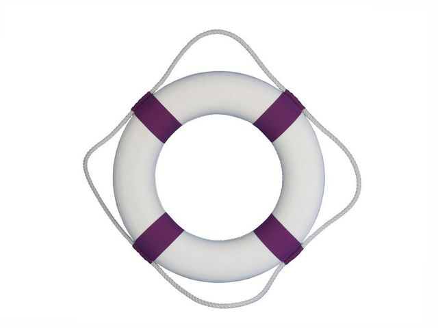 Classic White Decorative Lifering with Purple Bands 20