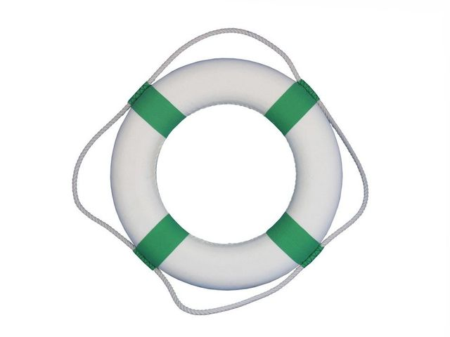 Classic White Decorative Lifering with Seafoam Green Bands 20