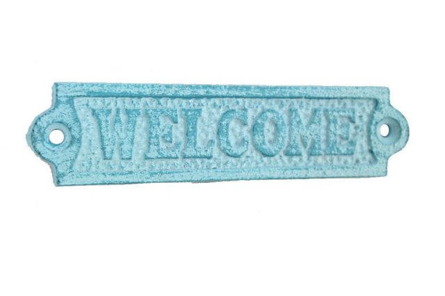 Rustic Light Blue Whitewashed Cast Iron Welcome Sign 6