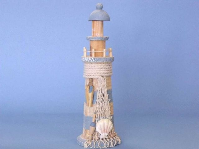 Wooden Lighthouse w- Fish and Rope 13