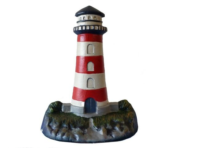 Cast Iron Red-White Lighthouse Door Stop 13