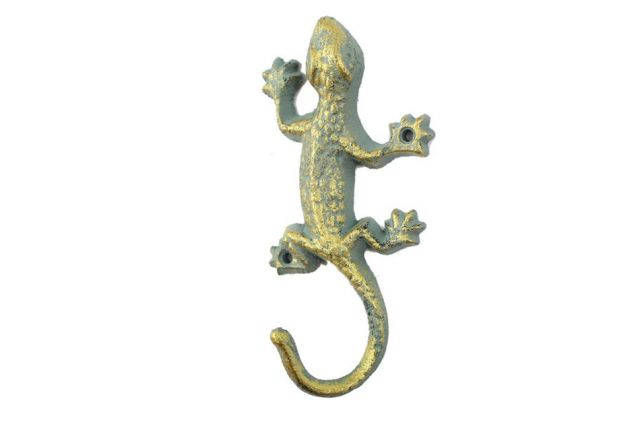 Antique Seaworn Bronze Cast Iron Lizard Hook 6
