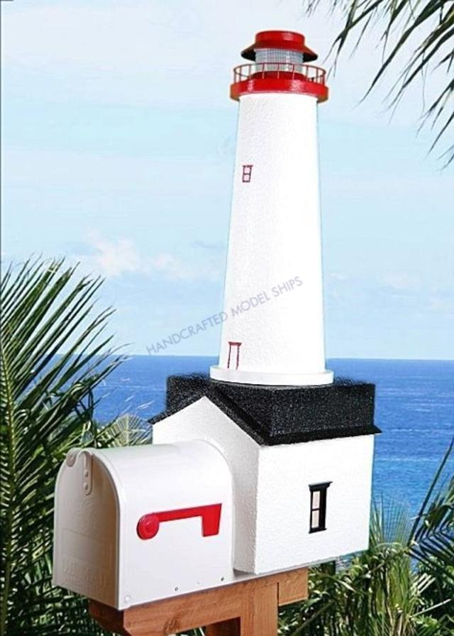 Marblehead Solar Powered Stucco Lighthouse Mailbox 36