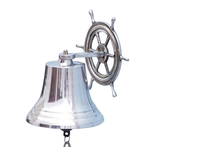 Chrome Hanging Ship Wheel Bell 10