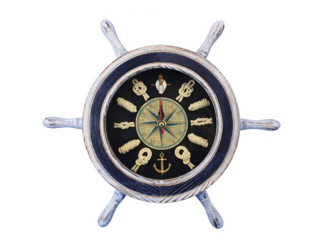 Wooden Rustic White and Blue Ship Wheel Knot Faced Clock 12