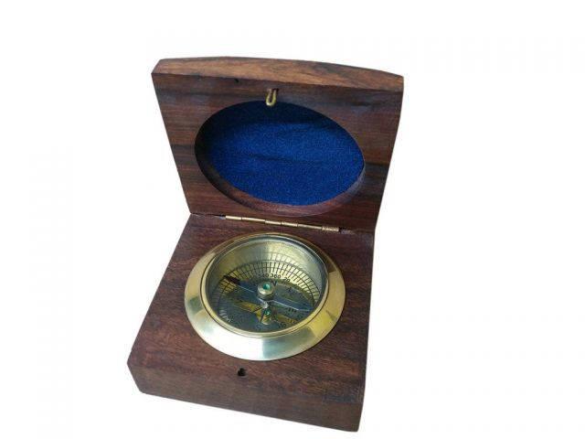 Brass Desk Compass w- Rosewood Box 3