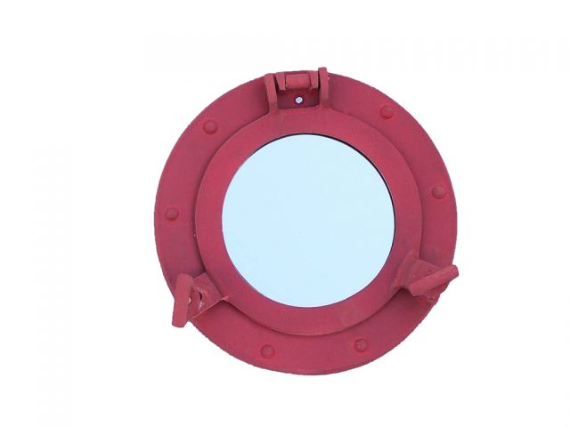 Rustic Red Aluminum Deluxe Class Decorative Ship Porthole Mirror 8