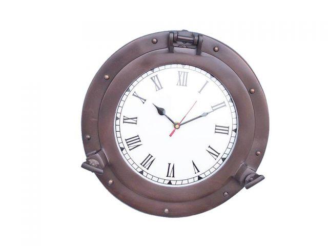 Bronzed Deluxe Class Porthole Clock 12