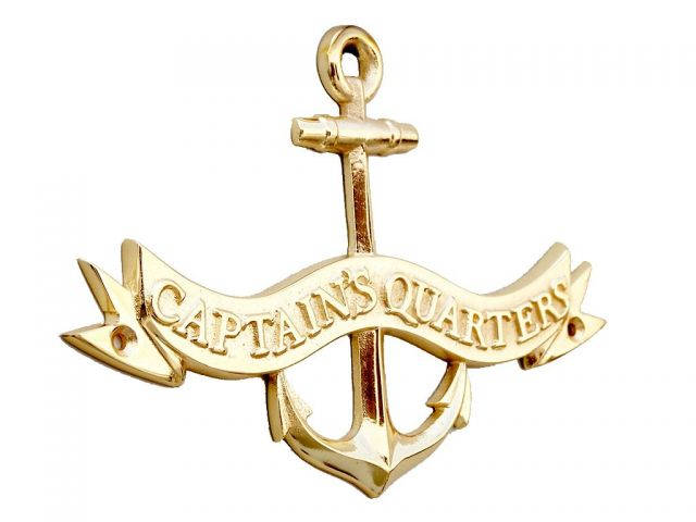 Brass Captains Quarters Anchor With Ribbon Sign 8