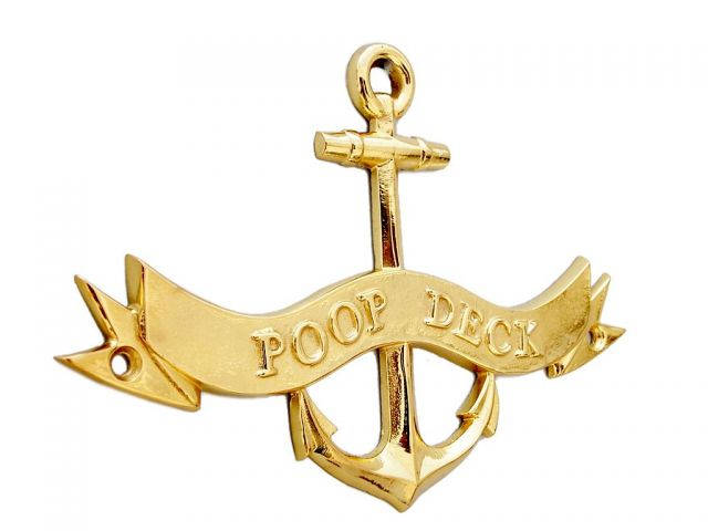 Brass Poop Deck Anchor With Ribbon Sign 8