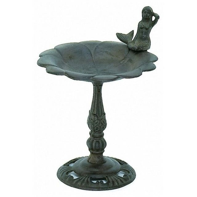 Rustic Cast Iron Mermaid Bird Feeder 12