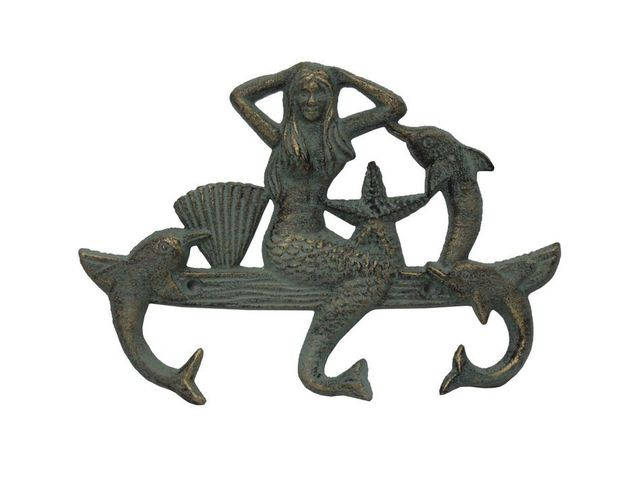 Antique Seaworn Bronze Cast Iron Wall Mounted Mermaid with Dolphin Hooks 9
