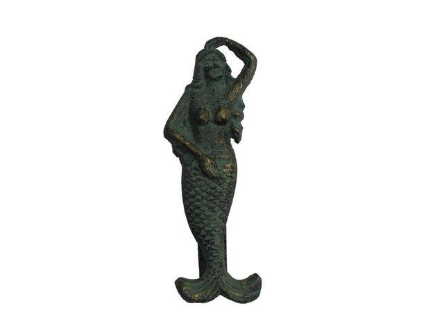 Antique Seaworn Bronze Cast Iron Mermaid Door Knocker 7