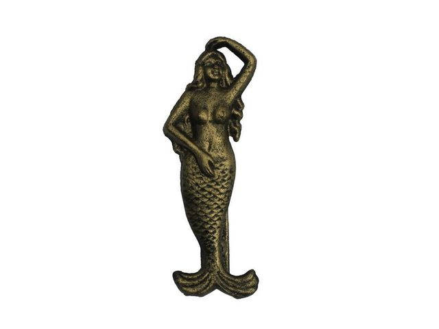 Rustic Gold Cast Iron Mermaid Door Knocker 7