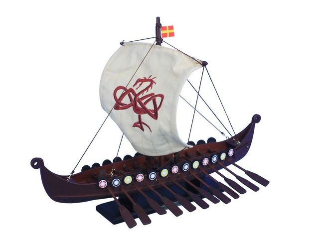 Wooden Viking Drakkar with Embroidered Serpent Limited Model Boat 14