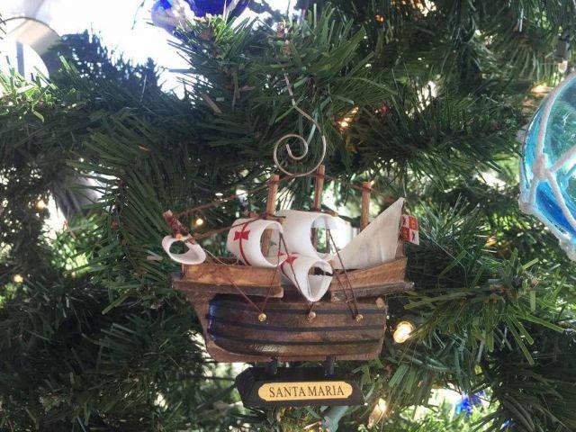 Wooden Santa Maria Tall Model Ship Christmas Ornament 4