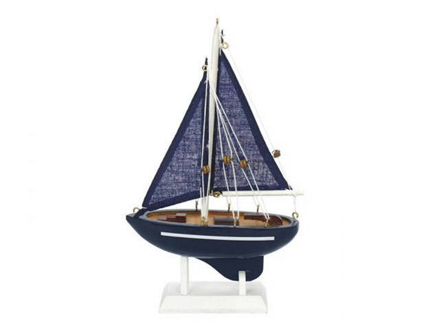 Wooden Deep Blue Sea Model Sailboat 9