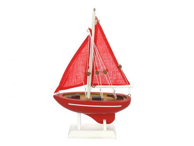 Wooden Red Sea Model Sailboat 9