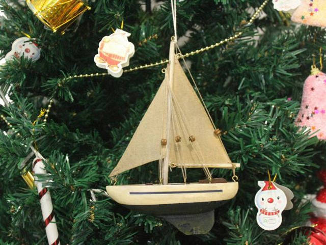 Wooden By The Sea Model Sailboat Christmas Tree Ornament