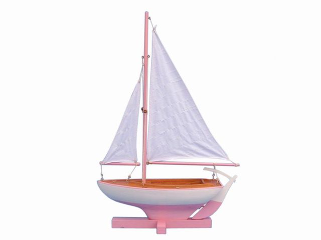 Wooden Pink Sunset Sailer Model Sailboat Decoration 17